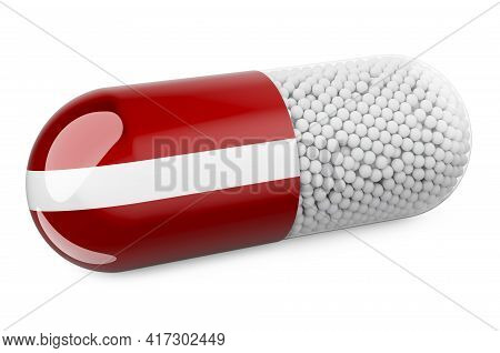 Pill Capsule With Latvian Flag. Healthcare In Latvia Concept. 3d Rendering Isolated On White Backgro