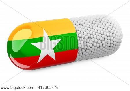 Pill Capsule With Myanmar Flag. Healthcare In Myanmar Concept. 3d Rendering Isolated On White Backgr