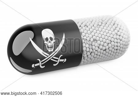 Pill Capsule With Piracy Flag. 3d Rendering Isolated On White Background