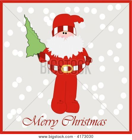 Card Design Of Father Christmas With Tree In Snow