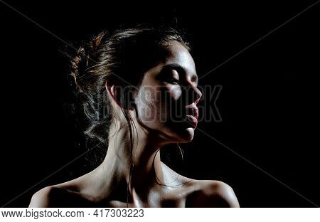 Beauty Girl With Oily Or Wet Skin On Black Background. Beauty, Fashion, Look. Purity, Perfection, Se