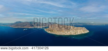 Aerial View Of Monemvasia Island Linked To Mainland By Short Causeway, Located In Lakonia Of Pelopon