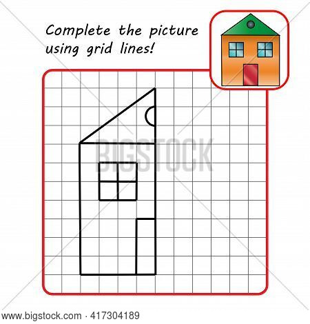 Educational Game For Kids. Simple Exercise. House. Drawing Using Grid. Symmetrical Drawing. Vector I