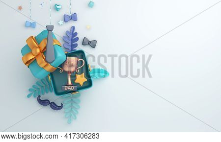 Happy Father's Day Decoration Background With Trophy Gift Box Star Leaves Mustache, Copy Space Text,
