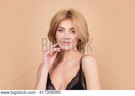 Woman Beauty Face, Portrait Of Beautiful Female Model. Skincare And Healthy Skin, Spa Facial Treatme