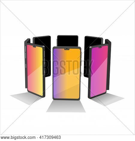 Group Of 3d Models Cell Phones. Smartphones In Circle Shapes. 3d Models Elements For Your Design In