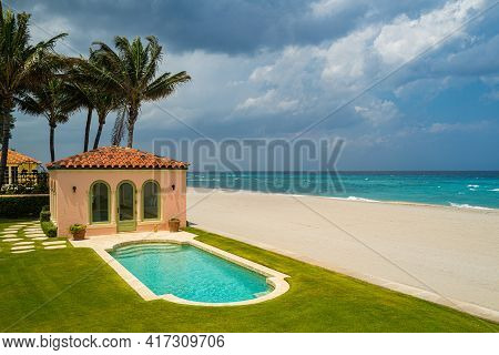 Luxury Beach House With Sea View, Swimming Pool And Terrace In Old Retro Design. Lounge Grass Floor.