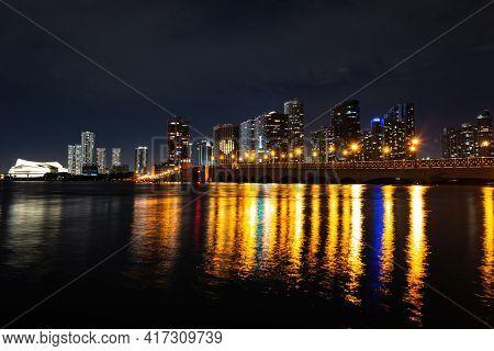 Miami Night Downtown. Miami, Florida, Usa Downtown Skyline.