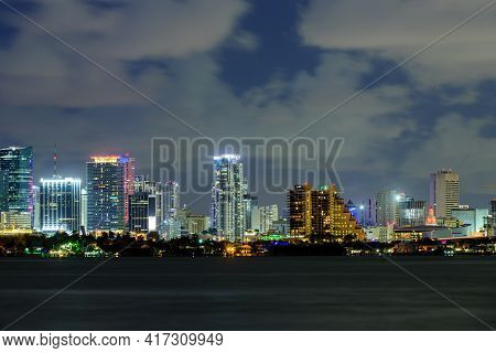Miami, Florida, Usa Skyline On Biscayne Bay, City Night Backgrounds. Miami, Florida, Usa Downtown Ci