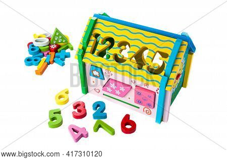House Made Of Wood Multicolored .. Sorter Game For Children. Educational Toy Montessori White Backgr