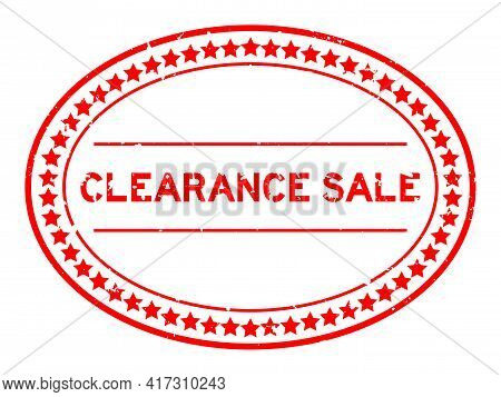 Grunge Red Clearance Sale Word Oval Rubber Seal Stamp On White Background