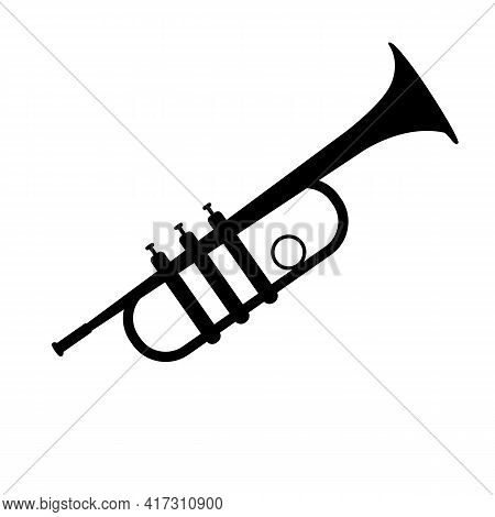 Trumpet Icon On White Background. Flat Style. Trumpet Silhouette Sign. Trumpet Wind Musical Instrume