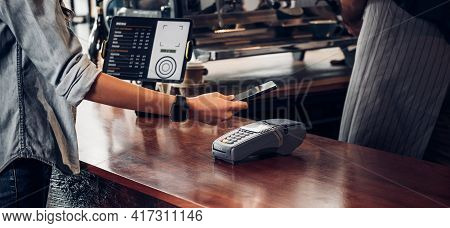 Customer Contactless Payment For Drink With Mobile Phon At Cafe Counter Bar,seller Coffee Shop Accep