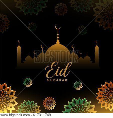 Eid Mubarak Decorative Islamic Greeting Design Vector Template Design