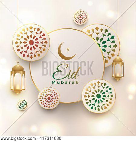 Eid Mubarak Elegant Decorative Greeting Design Vector Template Design