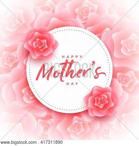 Happy Mother's Day Rose Flower Decorative Card Design