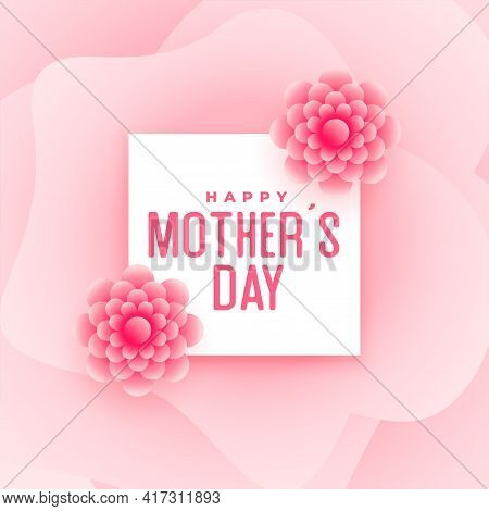 Happy Mother's Day Pink Flower Card Design
