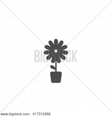 Black Flat Icon Of Camomile Flower In Little Pot. Bloom With Stem And Oval Rounded Leaf. Bloom With