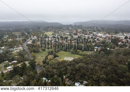 Drone Aerial Photograph Of Low Clouds Over Blackheath In The Blue Mountains In Regional New South Wa