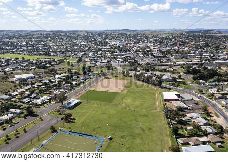 Drone Aerial Photograph Of The Township Of Parkes In Regional New South Wales In Australia