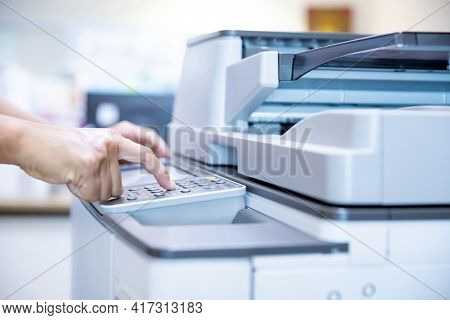 Copier Printer, Close Up Hand Of Office Man Press Copy Button On Panel To Using The Copier Or Photoc