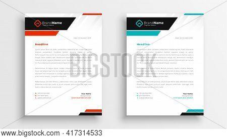 Modern Letterhead Teamplate For Business Identity Vector Template Design