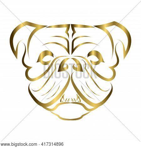 Gold Line Art Of Bulldog Or Pug Dog Head. Good Use For Symbol, Mascot, Icon, Avatar, Tattoo, T Shirt