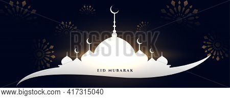 Eid Mubarak Mosque Greeting Banner Design Vector Template Design