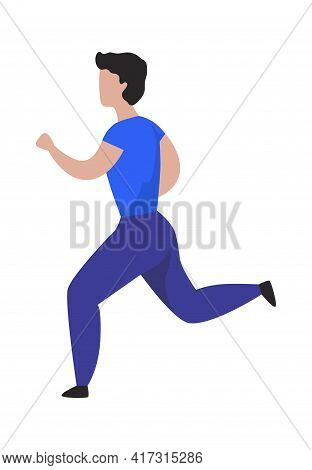 Running Man. Cartoon Character Jogging. Sport Activity. Isolated Male Doing Exercises. Muscular Spor