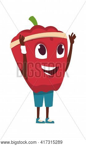Vegetable Character. Cartoon Red Pepper Exercising. Healthy Food Sport Training. Funny Happy Mascot