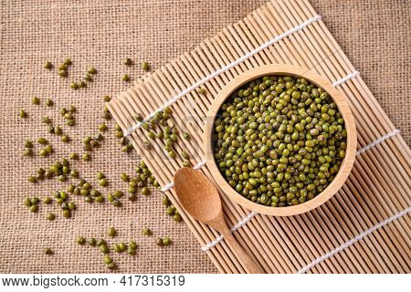 Mung Bean Seeds In A Bowl With Spoon, Food Ingredients In Asian Cuisine And Produce Mung Bean Sprout