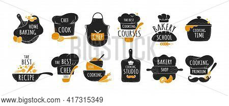 Cook Logo. Restaurant Kitchen Chef Emblems, Bakery And Cookery Badges Set. Black Stickers With Lette