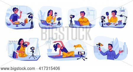 Bloggers And Vloggers. Influencers Making Content For Cooking And Travel, Beauty Or Fashion Video Ch