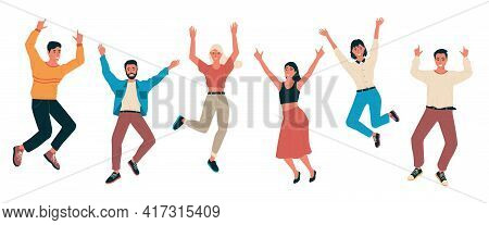 Cartoon Happy People. Young Men And Women Laughing. Isolated Cheerful Characters Jumping And Waving