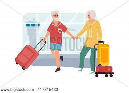 Senior Couple In Airport. Elderly Man And Woman Travel. Cartoon People Holding Hands And Carrying Ba