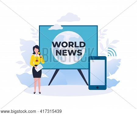 World News. Online Reportage Showing. Watch Journalist Review Using Smartphone. Mass Media Digital B