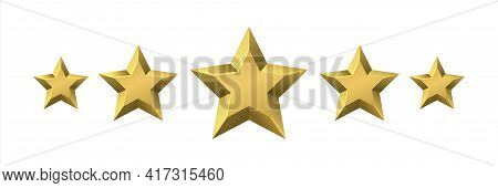 Golden Award Stars. Realistic Customer Review And Feedback Signs. 3d Rating Shiny Icons. Premium Qua