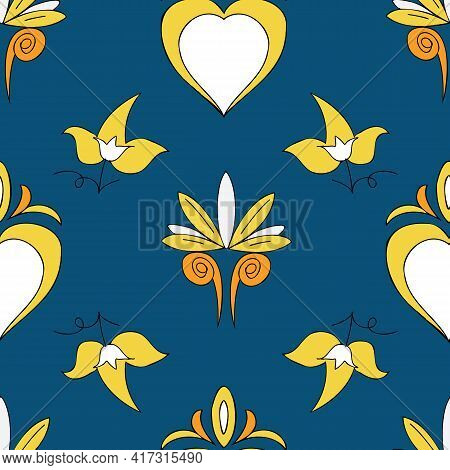Vector Dark Blue Background Brittany Celtic, Breton Trational Folklore Symbols Seamless Pattern. Sea