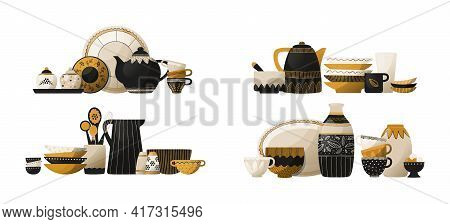 Crockery Stack. Ceramic Tableware And Pottery. Kitchen Dishes. Cookware With Spoons And Cups, Decora