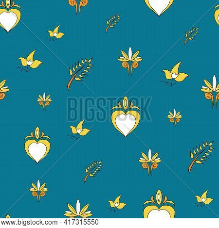 Vector Allports Blue Background Brittany Celtic, Breton Trational Folklore Symbols Seamless Pattern.