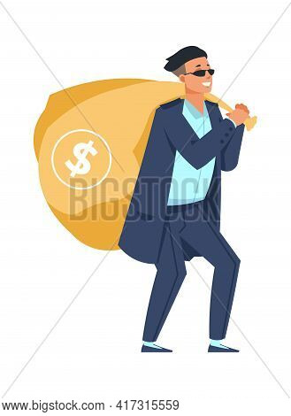 Rich Man With Bag Of Money. Millionaire Carries Full Sack With Dollar Sign. Lucky Casino Player, Jac