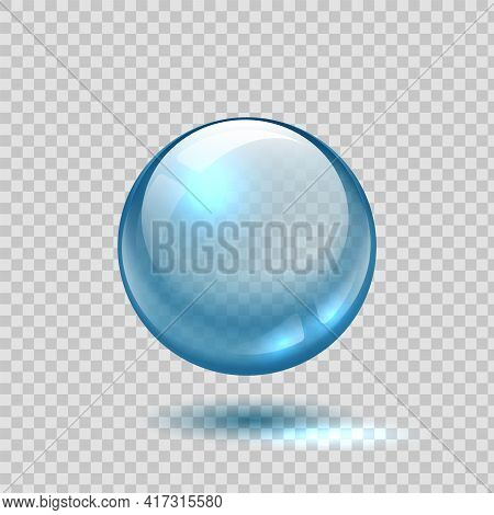 Clear Glass Bubble. Realistic Blue Sphere. 3d Ball On Transparent Background. Glossy Crystal Object