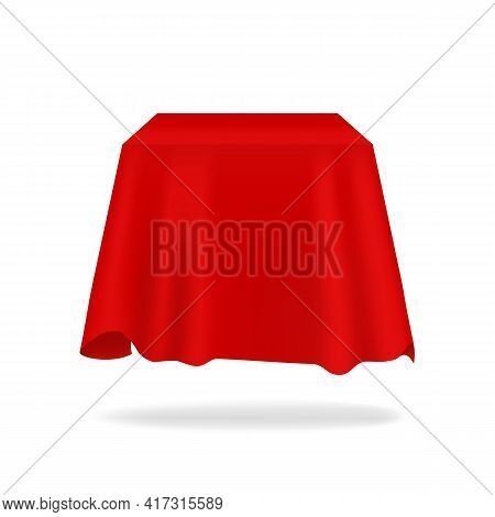 Red Silk Cover. Realistic Secret Box Hidden Under Fabric. 3d Bright Flowing Tablecloth Mockup With F