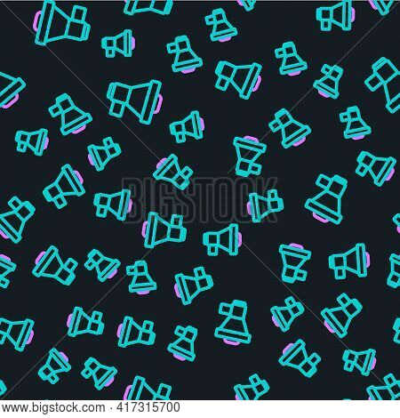 Line Megaphone Icon Isolated Seamless Pattern On Black Background. Loud Speach Alert Concept. Bullho