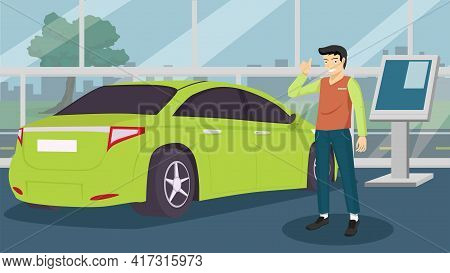 Buyer Man Shows Hands Happy For Buy New Car. Luxury Green Cars. With Park Facing The Showroom Glass.