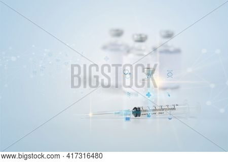 Medical Technology And Futuristic Injection Vaccine Flu Antibiotic On Hospital Medicine And Health C