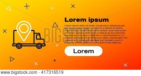 Line Delivery Tracking Icon Isolated On Yellow Background. Parcel Tracking. Colorful Outline Concept