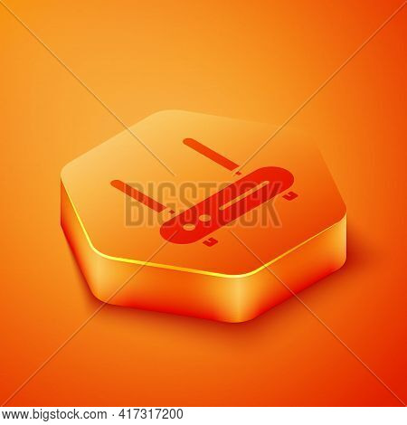 Isometric Router And Wi-fi Signal Icon Isolated On Orange Background. Wireless Ethernet Modem Router