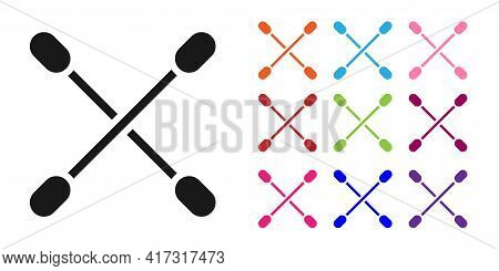 Black Cotton Swab For Ears Icon Isolated On White Background. Set Icons Colorful. Vector Illustratio