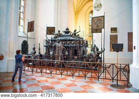Munich, Germany - September 12, 2018: The Tomb Of Emperior Ludwig Iv Of Bavaria With Sculptures Of K